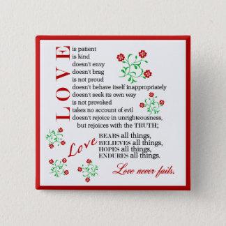 Love Quote   1 Corinthians 13 4-8 15 Cm Square Badge
