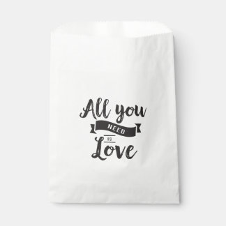 Love Quote Black & White Wedding Party Favour Bag
