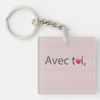 Love quote pink and gray stripes key ring