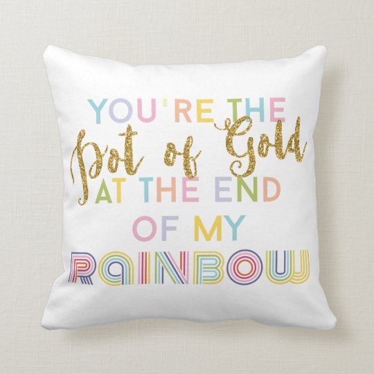 Love Quote Rainbow Pot Of Gold Pink Blue Yellow Cushion