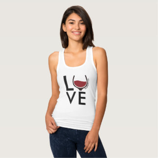 LOVE racerback wine glass merlot drink ladies Singlet