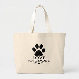 LOVE RAGDOLL CAT DESIGNS LARGE TOTE BAG