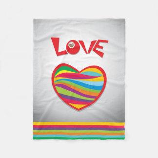 Love Rainbow Hearts Design Fleece Blanket