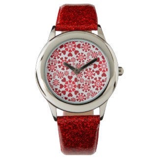 Love Red Glitter watch