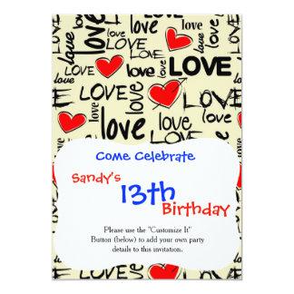 Love Red Heart Pattern 13 Cm X 18 Cm Invitation Card