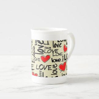 Love Red Heart Pattern Bone China Mug