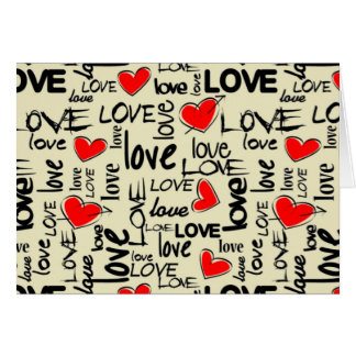 Love Red Heart Pattern Greeting Card