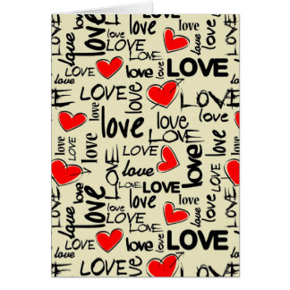 Love Red Heart Pattern Note Card