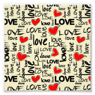 Love Red Heart Pattern Photo