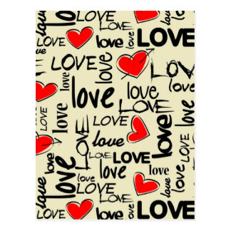 Love Red Heart Pattern Postcard
