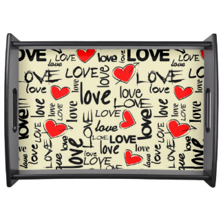 Love Red Heart Pattern Serving Trays