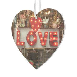 LOVE Red Heart Valentine NYC Window Reflection Car Air Freshener