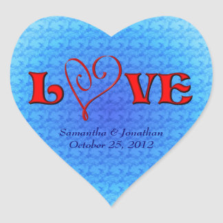 Love Red Heart Wedding Sticker