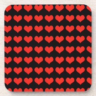 Love red hearts drink coaster