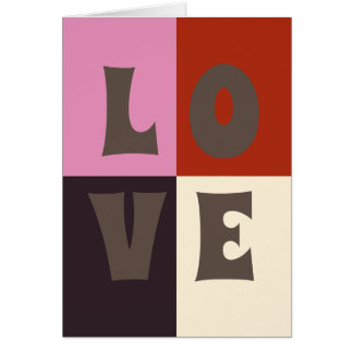 LOVE Red Pink Eggplant Ivory Card