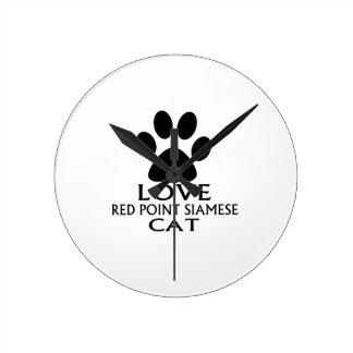LOVE RED POINT SIAMESE CAT DESIGNS ROUND CLOCK