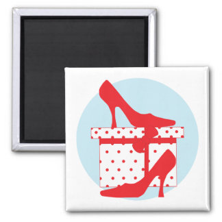 Love red shoes with pretty gift box, magnet, gift magnet