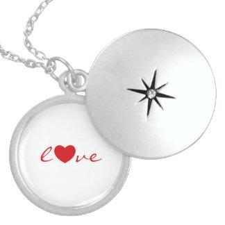 Love red text design round locket necklace