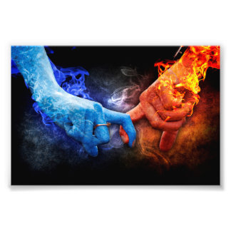 Love Relationships Fire Smoke Hands Touching Photo Print