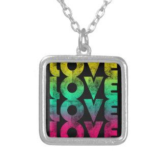 Love, Retro Neon / Black Pendant Necklace