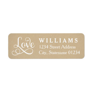 Love Return Address Labels | Kraft Brown