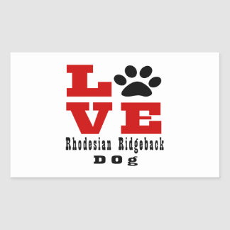 Love Rhodesian Ridgeback Dog Designes Rectangular Sticker