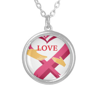 LOVE RIBBON SILVER PLATED NECKLACE