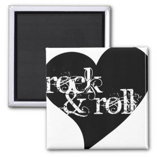 Love Rock & Roll Design Square Magnet