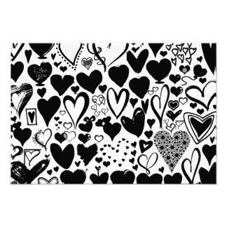 Love, Romance, Hearts - Black Photographic Print