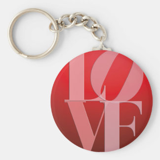 Love Romance Red Pink Basic Round Button Key Ring
