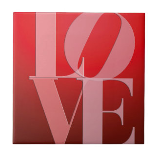 Love Romance Red Pink Small Square Tile