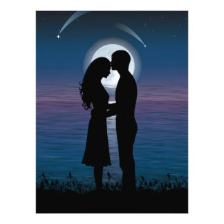 Love Romance Silhouette Couple On The Lake Coast Photo Print