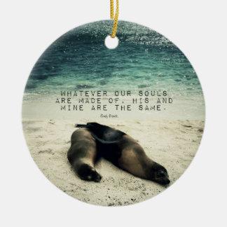 Love romantic couple quote beach Emily Bronte Round Ceramic Decoration