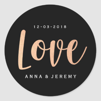 Love Rose Gold Black Wedding Sticker
