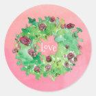 Love Rose Wreath Watercolor Classic Round Sticker