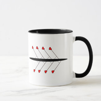 Love Rowing hashtag slogan and boat Mug