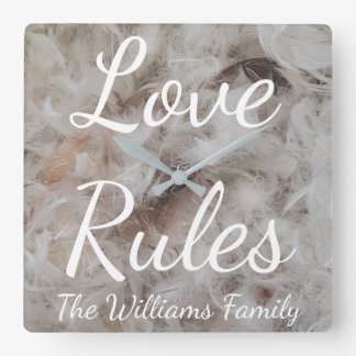 Love Rules Bird Feathers Photography Elegant Square Wall Clock