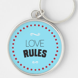Love Rules Keychain – Blue