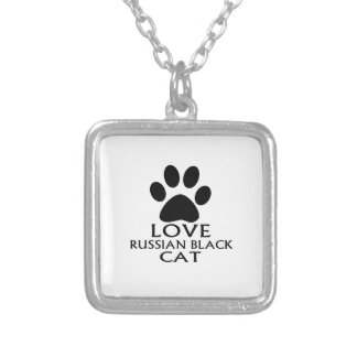 LOVE RUSSIAN BLACK CAT DESIGNS SILVER PLATED NECKLACE