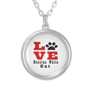 Love Russian White Cat Designes Silver Plated Necklace