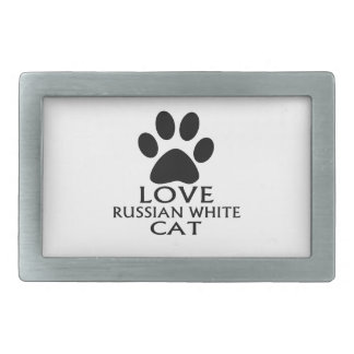 LOVE RUSSIAN WHITE CAT DESIGNS BELT BUCKLES