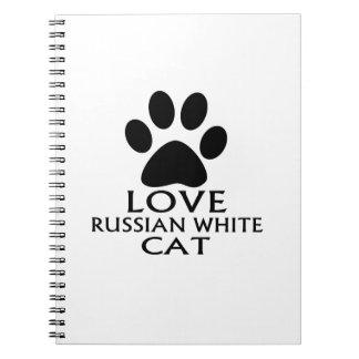 LOVE RUSSIAN WHITE CAT DESIGNS NOTEBOOKS