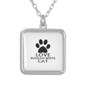 LOVE RUSSIAN WHITE CAT DESIGNS SILVER PLATED NECKLACE
