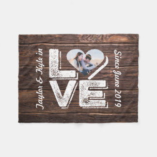 Love Rustic Woodland Photo Heart Frame Monogram Fleece Blanket