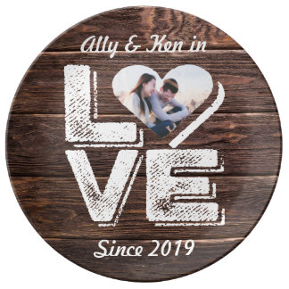 Love Rustic Woodland Photo Heart Frame Monogram Plate