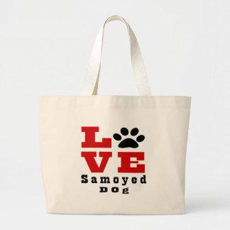 Love Samoyed Dog Designes Large Tote Bag
