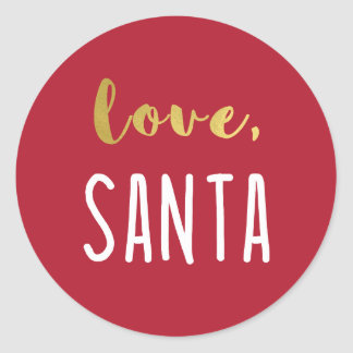 Love, Santa | Faux Gold Typography on Red Classic Round Sticker