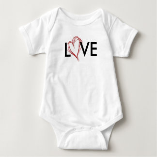 LOVE Scribble Heart Baby One Piece Baby Bodysuit