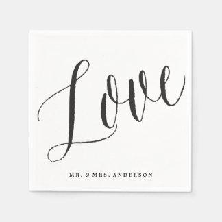 Love Script Calligraphy Wedding Paper Napkin