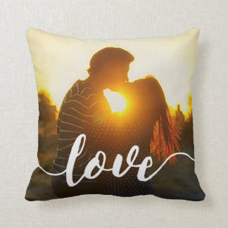Love Script Overlay Photo Cushion